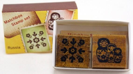 SALE - Matryoshka and Floral Burst Matchbox Stamp Set-Japanese Set of 2 Small Rubber Stamps