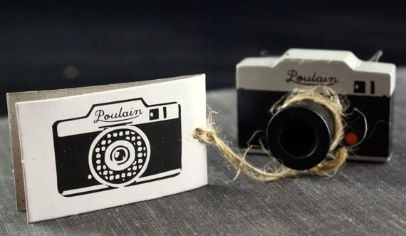 Old Fashioned or Antique Wooden 35mm Camera POULAIN Stamp from Japan
