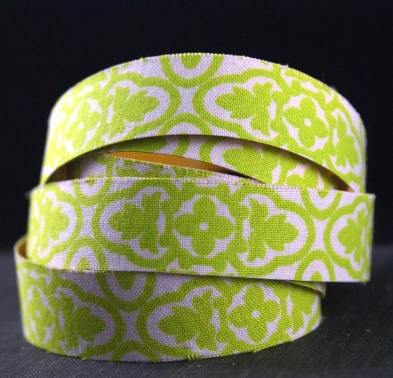 SPANISH TILE Citrus lime green floral Handmade Peel & STICK Adhesive Fabric Deco Tape-for Crafting, Scrapbooking, Gift Wrapping, Decorating