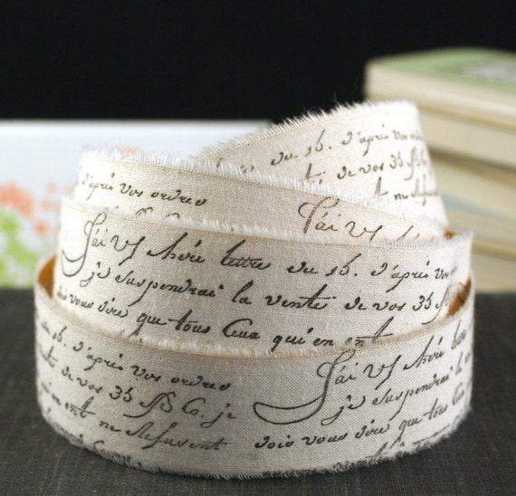 PEEL & STICK - 2 YARDS Stamped French Script Words Muslin Fabric Adhesive Ribbon-for Weddings,Scrapbooking, Gift Wrapping, Decorating