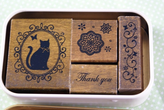 Fancy cat in Ornate Frame, Thank You, Star Doily, Swirls with butterflies - Gift Tin of 4 Japanese Wood Mounted Rubber Stamps