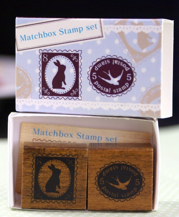 Bunny Shadow and Bird in Flight mock postage Stamps Matchbox Duet Set-Japanese Rubber Stamps