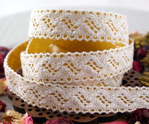 Handmade Peel & Stick 3/4 inch COTTON LACE Adhesive Fabric Deco Tape Gentle Waves and Dots -2 YARDS