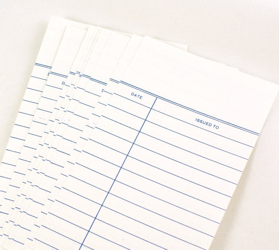 SALE - 50 CRISP WHITE Old Fashioned Card Stock Library Cards with blank header and 2 columns for DaTE and iSSUED To
