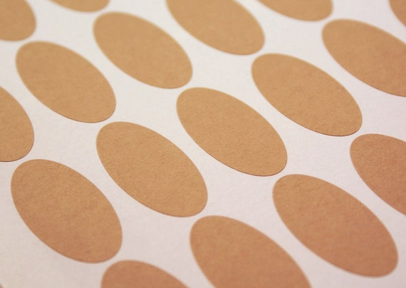 Kraft brown labels - 81 BLANK 2 x 1 inch Oval Stickers for Labeling, Custom Printing, Packaging