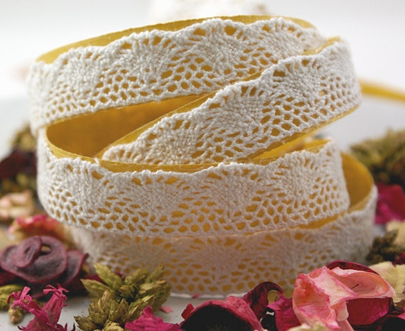 Handmade Peel & Stick 3/4 inch COTTON LACE Adhesive Fabric Deco Tape Fans and Dots -2 YARDS
