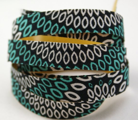 Teal Green and White Peacock Petals on Black Handmade PEEL & STICK Adhesive Fabric Deco Tape-for Scrapbooking, Gift Wrapping, Decorating