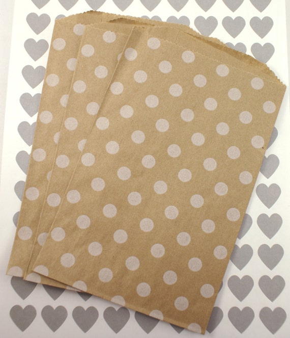 50 Medium Brown Kraft 5 x 7.5 paper bags with white polka dots - Packaging, Party Favors, Treats, Retail
