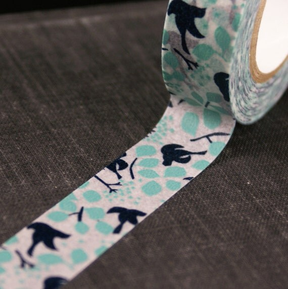 Beautiful Navy Blue Birds in Flight with Leaves, Twigs, Branches Japanese Washi Paper Masking Tape-16.5 YARDS