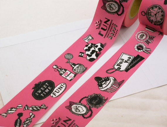 SALE - Pink SWEET TiME FUN Old Fashioned Desserts & Motifs on Wide Black Washi Masking Tape-16.5 Yards