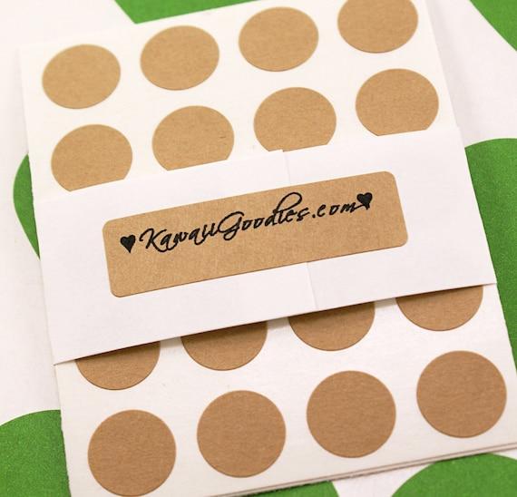 FREE SHIPPING - 204 BLANK Mini 1/2 inch round Dot Kraft Circle Stickers