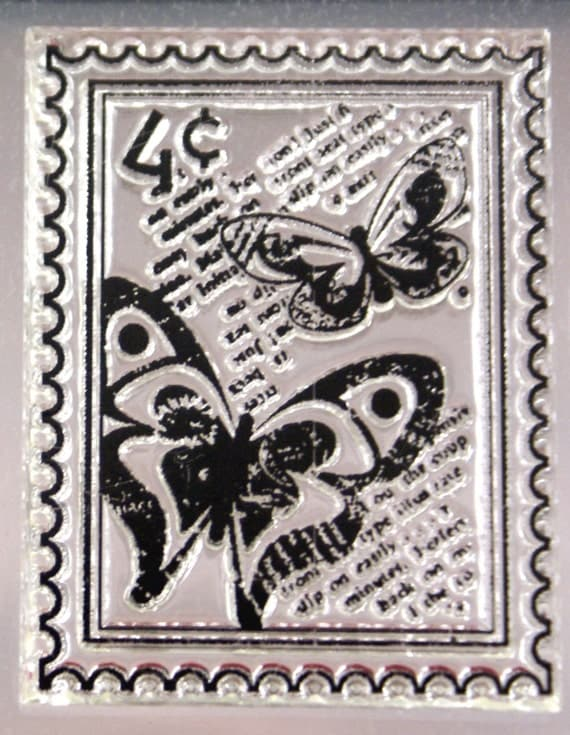 Mock letter postage stamp with butterflies and background script - Repositionable Clear Cling Stamp