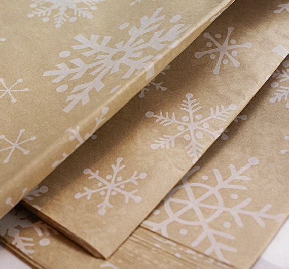 WINTER SNOWFLAKES - 20 x 30 inch Tissue Paper for Packaging, Parcels and Gift Wrapping