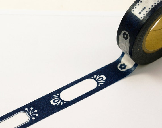 Classic Tags & Labels on MIDNIGHT BLUE - Japanese Washi Paper Masking Tape-16.5 YARDS