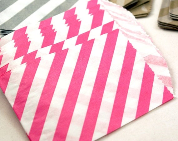 DARK PINK party favor bags - 20 Mini 2.75 x 4 pink gift bags with stripes - party favor bags, candy bags, wedding favor bags, birthday