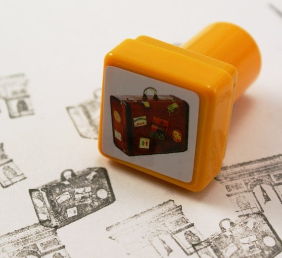 PHOTO REAL Luggage Suitcase Self-Inking Peg Rubber Stamp