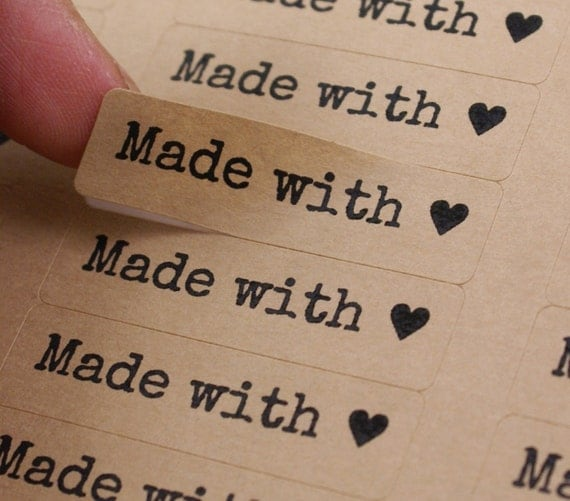 80 MADE WITH LOVE stickers with Heart - Made with Love Labels in Typewriter Font - 1/2 x 1 3/4 inch with love stickers