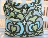 Amy Butler Laptop Bag in RARE fabric Nigella Water Lotus in Spinach Amy Butler purse handmade diaper bag