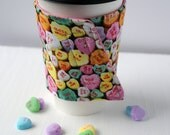SALE 15% off - Conversation Hearts Reusable Coffee Cozy -  Candy Heart Cozie