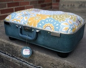 SALE - Vintage Suitcase Pet Bed - Light Blue with Green Yellow Retro Floral Print Custom Cushion - Cats and Small Dogs
