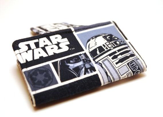 Star Wars Mini Wallet Business Card Holder -  R2D2 Darth Vader Navy Blue Gray and Black