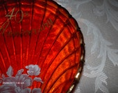 Vintage Red Glass 40th Anniversary Candy / Trinket Dish - Beautiful