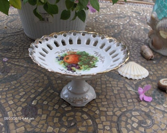 Vintage Betson Pierced Edge Pedestal Dish - Beautiful