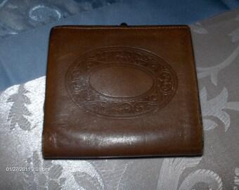Vintage Buxton Brown Leather Wallet/Change Purse - 1970s