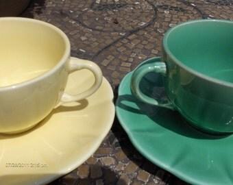 Treasury Item - Vintage Lemon Lime Ceramic Cups and Saucers - Sweet