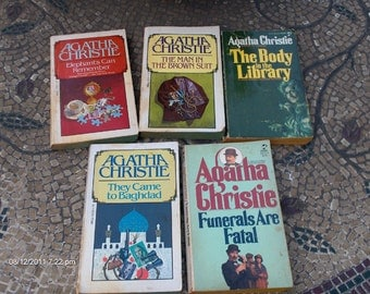 5 Agatha Christies Paper Back Mysteries - An instant Collection - 1940s - 1970s