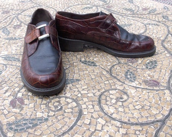 Brighton Ladies Two Tone Brown Leather Shoes - Made in Italy