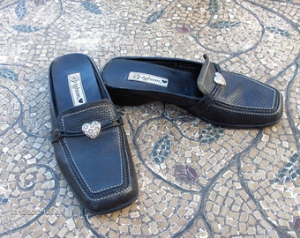 Brighton Ladies Black  Leather Mules / Slides -  Bench Made in Brazil