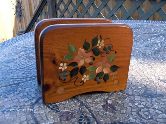 Vintage Hand Craft Wood Napkin/ Letter Holder - Woodzel Signed Art