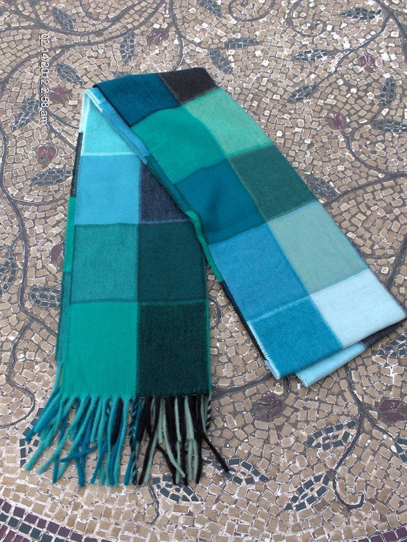 PRICE REDUCTION - Vintage Teal - Forest Green - Sage and Black Cashmink Plaid / Checker Scarf - Made in Germany
