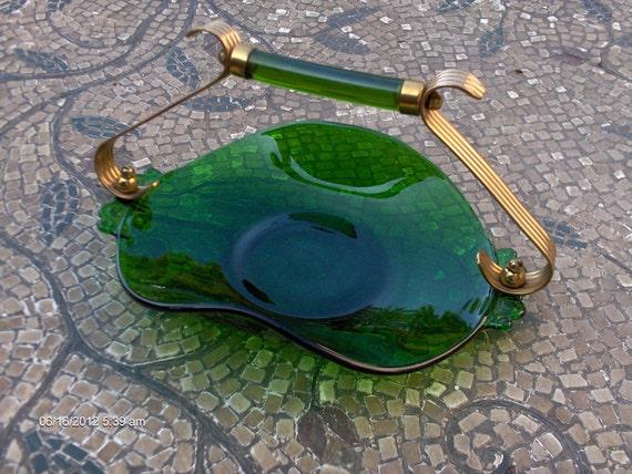 Treasury Item - Antique Emerald Green Glass Art Deco Bon Bon / Candy / Nut / Trinket Dish - Beautiful