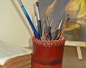 Pen Cup Tooled Leather Victorian Style