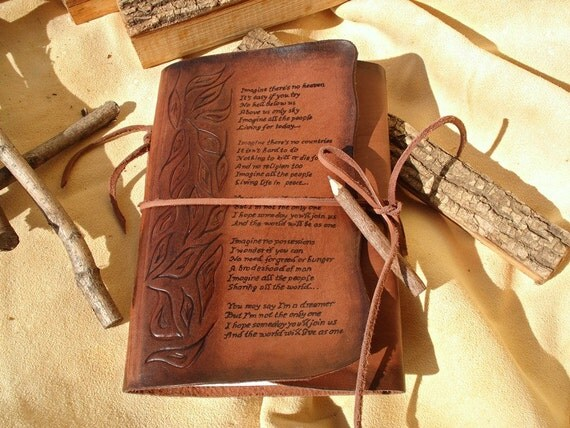 Leather Journal Imagine Hand Tooled and Hand Written