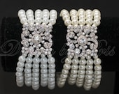 SALE - JB1 - Crystal with White or Cream Faux Pearls Stretch Bracelet - Bride.Accessory.Jewelry - CUSTOM your Size