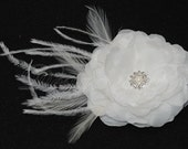 SALE Bridal Hairpiece Bridal Accessories - Diamond White Silk Flower with Rhinestone Pearl Feathers Accents Bandeau Veil READY to SHIP