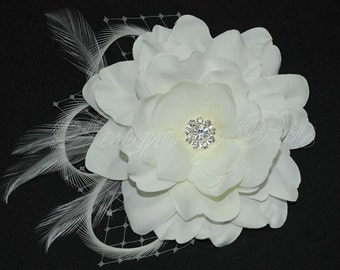 BM2-DW - Bridal Diamond White Hair Flower with a Rhinestone Center, Feathers and  Netting - Bridal.Hairpiece. Ready to ship