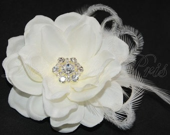 BP11-I - Bridal Pale Ivory  Hair Flower with Rhinestones Center and Feathers  Accents - Bridal Hairpiece