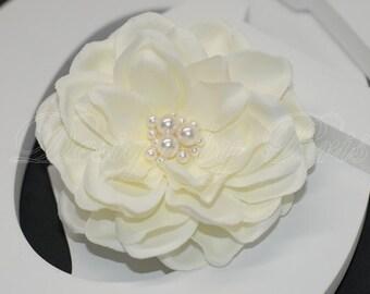 BP4-I - Bridal Petite Gardenia  Hair Flower with Swarovski Pearl Center. Bride.Hairpiece