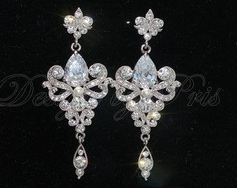SALE 10% - JE15 - CZ Chandelier with Swarovski Pearl Earrings  - Bridal.Accessories.Jewelry