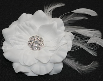 BM6 - Bridal Pure White Hair Flower with Rhinestones Center and Feathers  Accents - Bridal Hairpiece