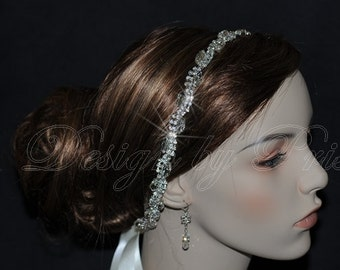 HPH1 - Bridal Rhinestone Headband Bridal.Hairpiece Bridal Hair Accessories Headband Ribbon Headband