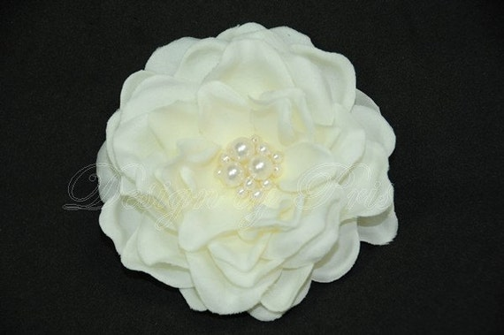 RESERVED FOR MEGGIE - Bridal Petite Ivory Gardenia  Hair Flower with Swarovski Pearl Center - Bride.Hairpiece