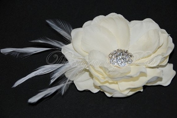 BEST SELLER - Bridal Ivory Magnolia Hair Flower with Rhinestone Center and Feathers (BM5-I)