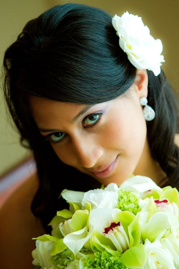 BP5-I - Bridal Petite Gardenia  Hair Flower with Rhinestone Center - Bride.Hairpiece