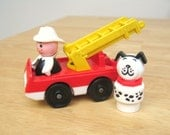Vintage Fisher Price Firetruck, Fireman and Dalmation