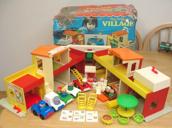 Vintage Fisher Price Village Set With Box